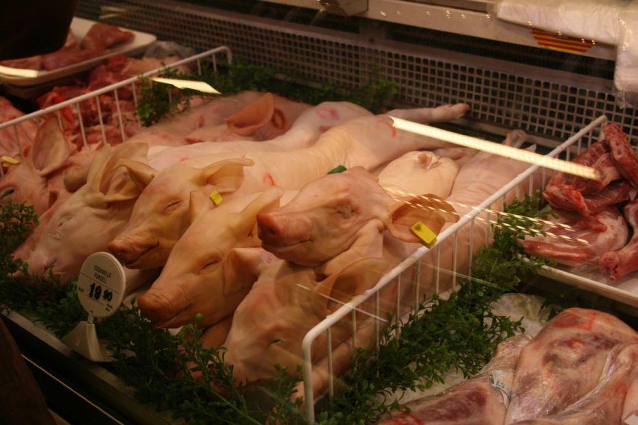 Cadáveres de cerditos de teta, a la venta en la carnicería de un supermercado en Barcelona, España.