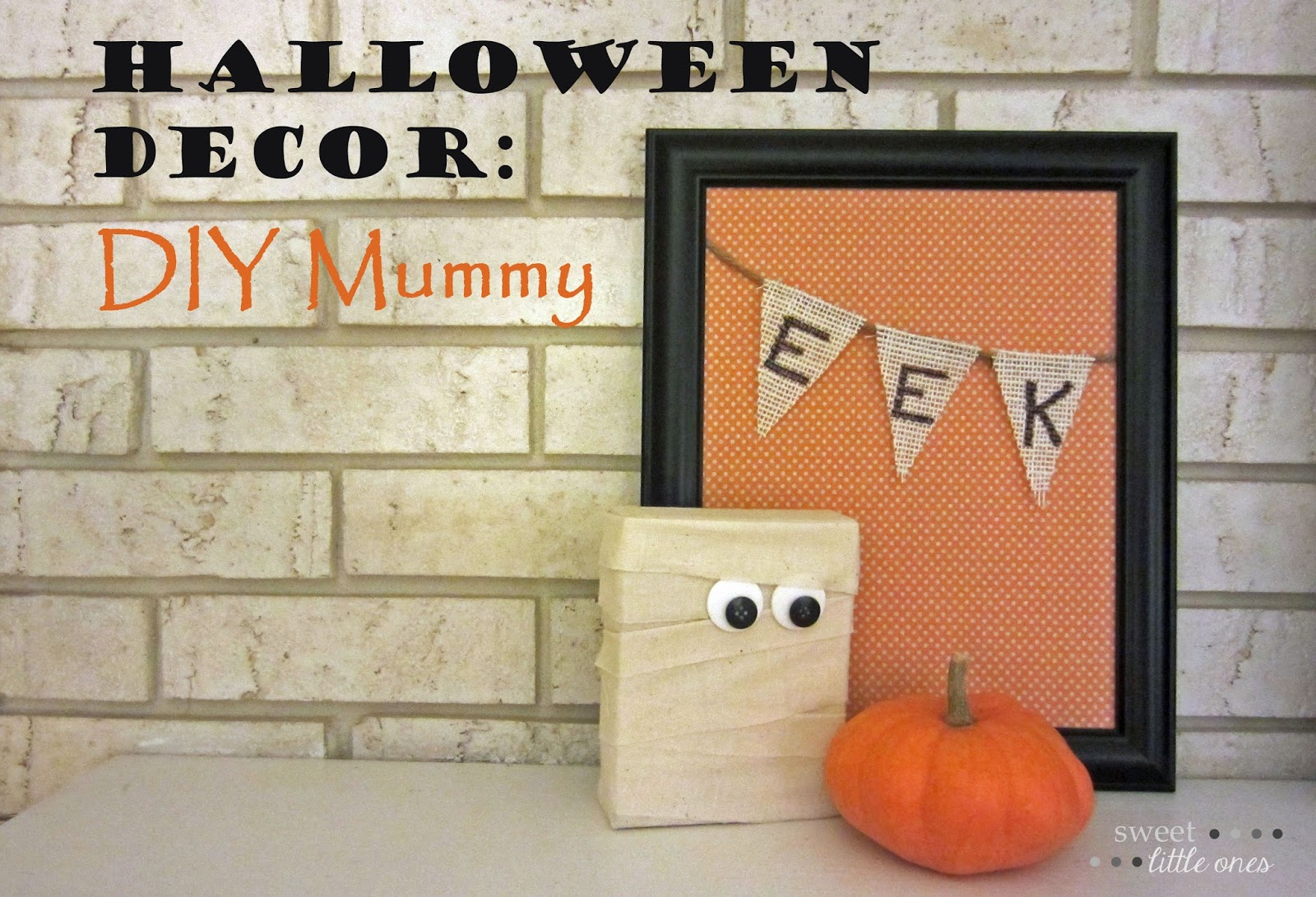 DIY Halloween Decor: Wood Block Mummy   www.sweetlittleonesblog.com