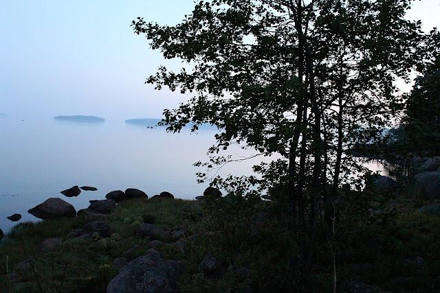 Midnight sun Finnish Midsummer. Finland Midsummer