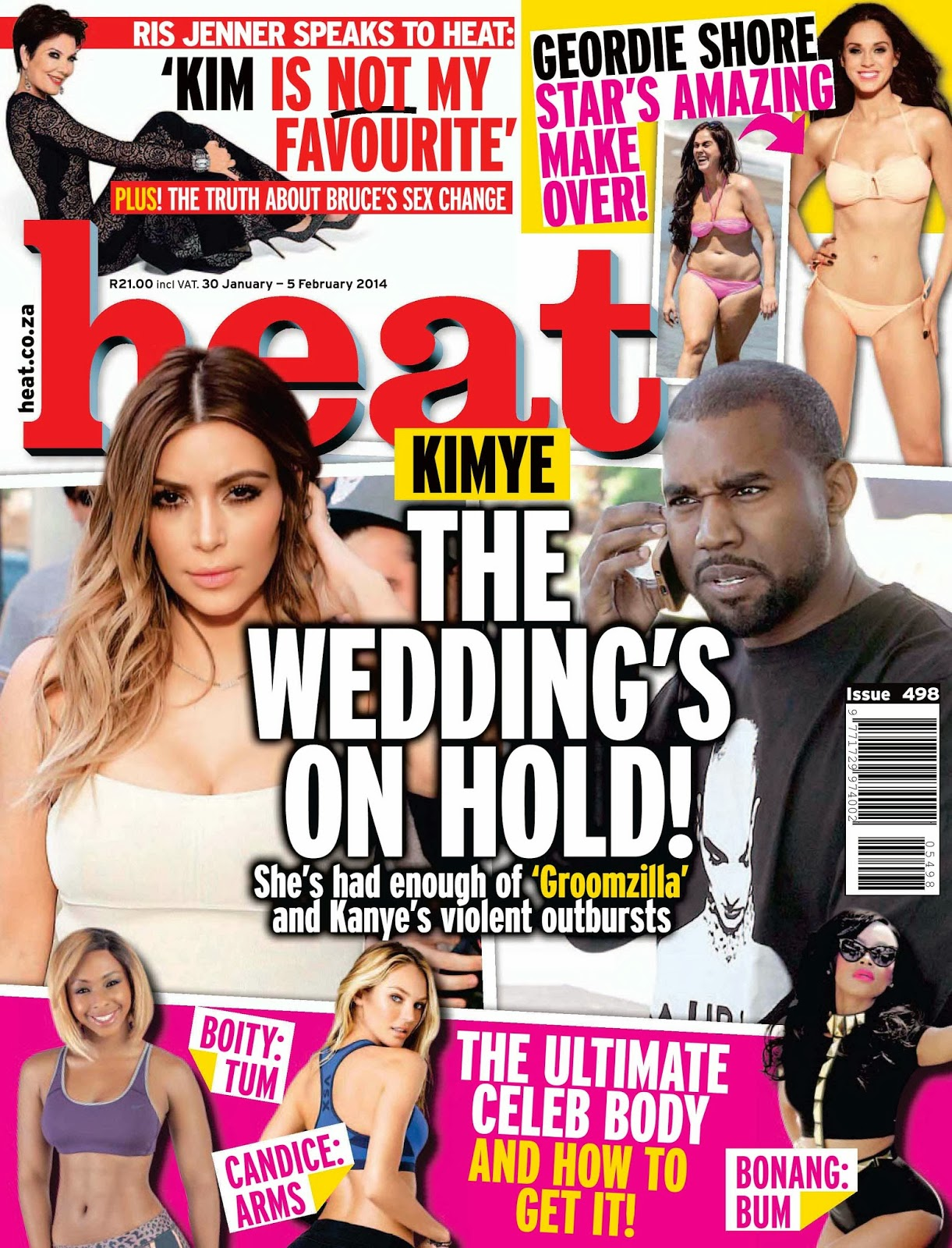 Magazine Cover : Kim Kardashian and Kanye West Magazine Photoshoot Pics on Heat Magazine South Africa January 2014 Issue