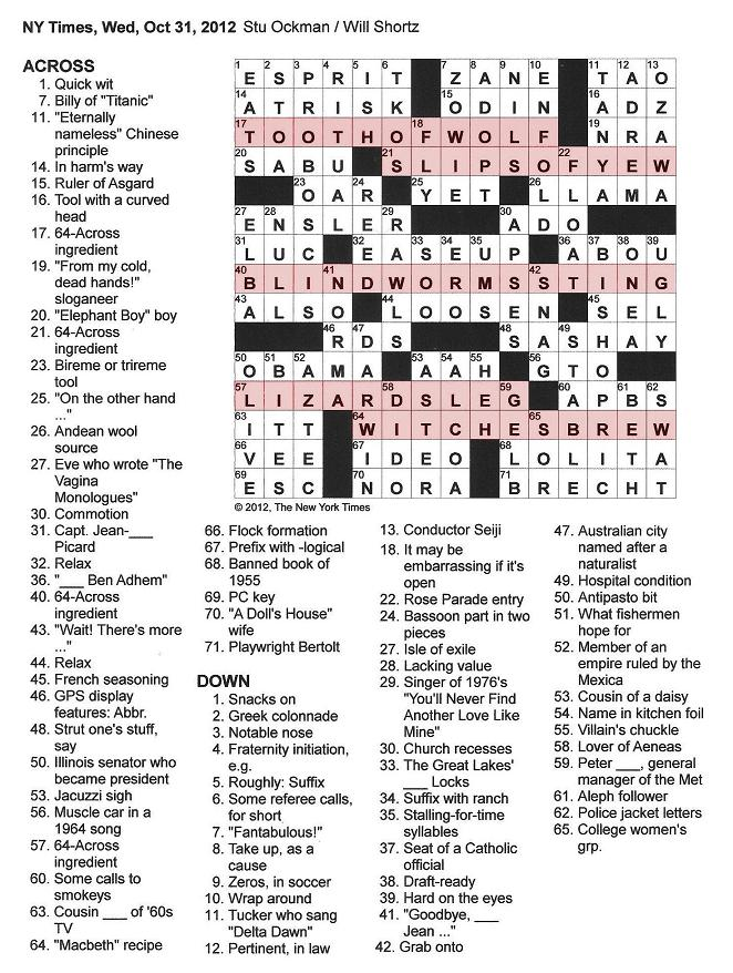 The New York Times Crossword in Gothic: 10.31.12 — Toil and Trouble