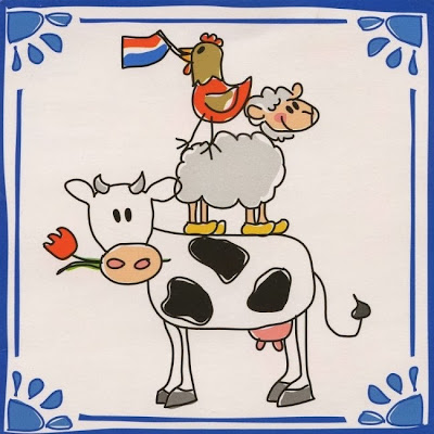 картинка символы Голландии - флаг, овца, корова