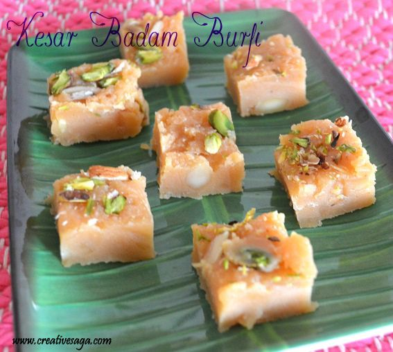 kesar badam burfi recipe