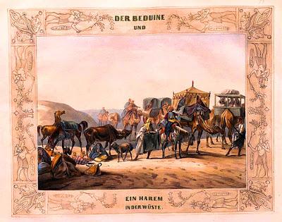 Lámina de un harem beduino en el desierto, hacia 1839 - 1840