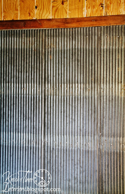 Repurposed Corrugated Metal Roofing on Walls via KnickofTimeInteriors.blogspot.com