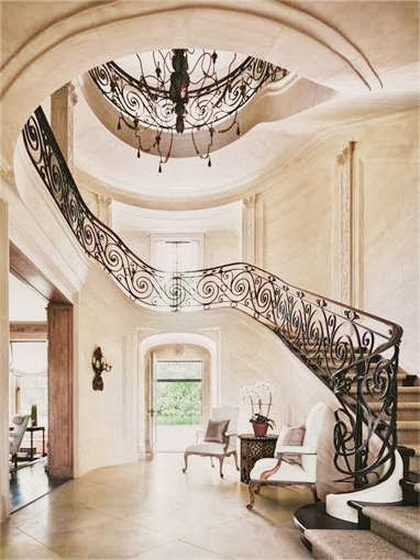 mansion estate entry hall foyer stairs staircase iron large home