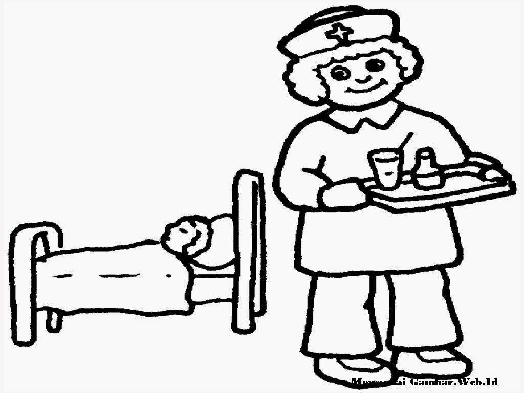 Gambar Mewarnai Perawat Membawakan Obat Untuk Pasien