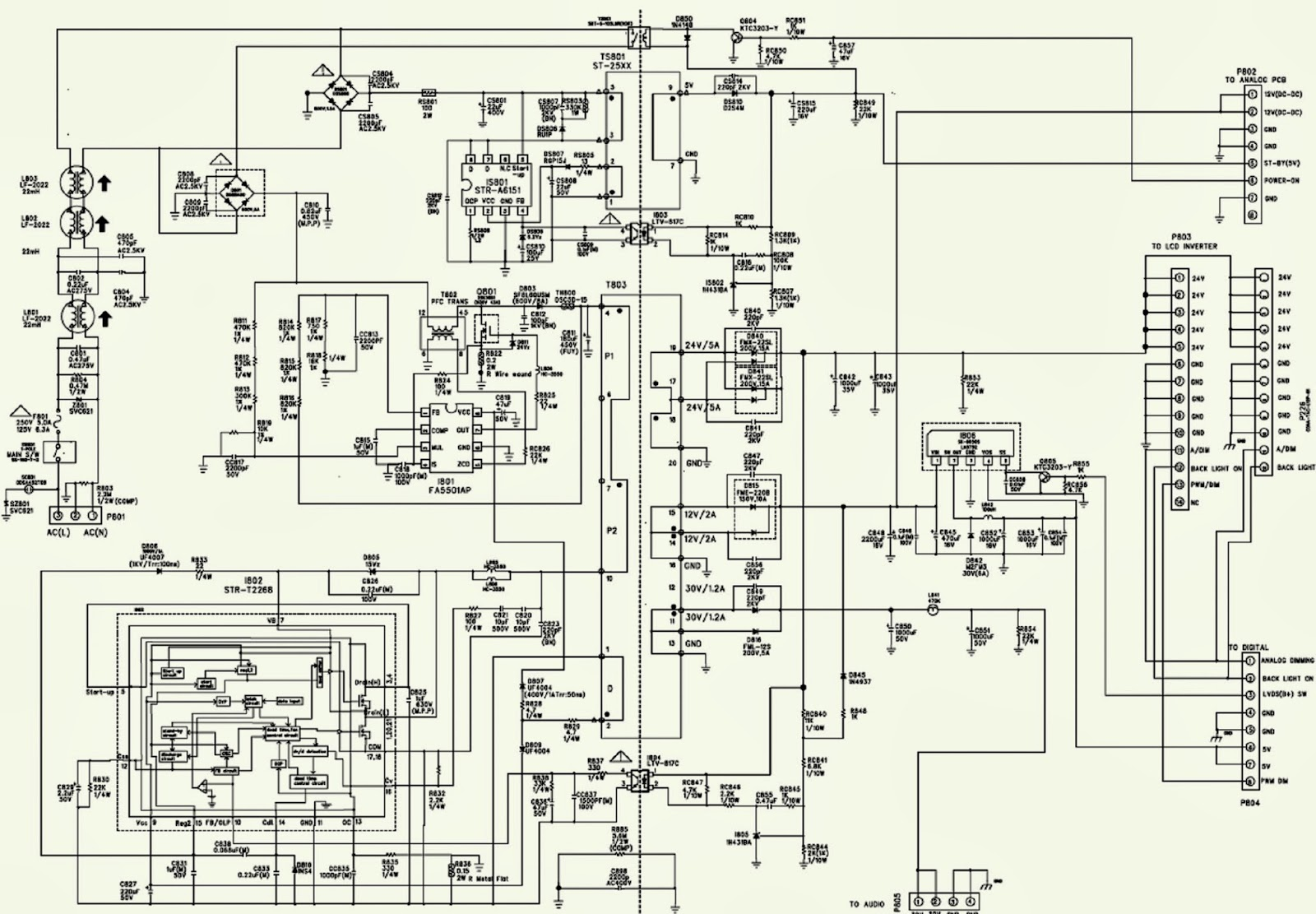 lg rz37lz55 power supply schematic circuit diagram faults lg rz37lz55 power supply schematic circuit diagram faults str t2268