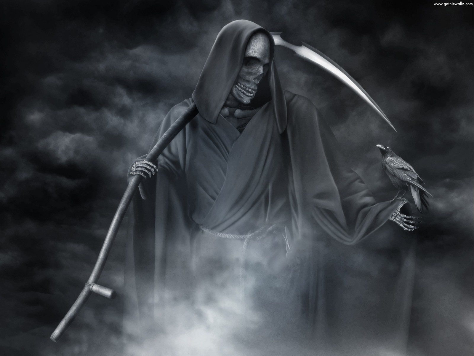 Grim Reaper With Crow | Gothic Wallpaper Download