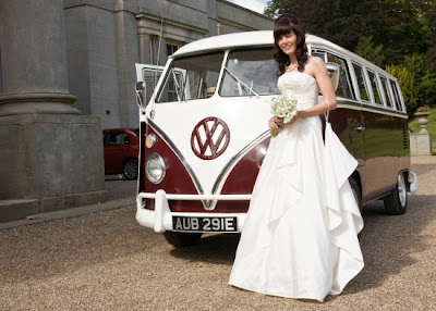 Bride arrives by VW Camper