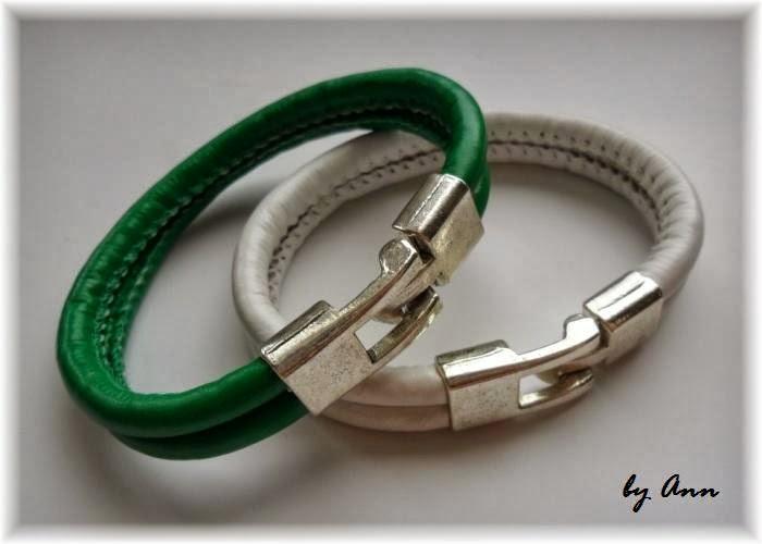bransoletki biały i zielony rzemień szyty