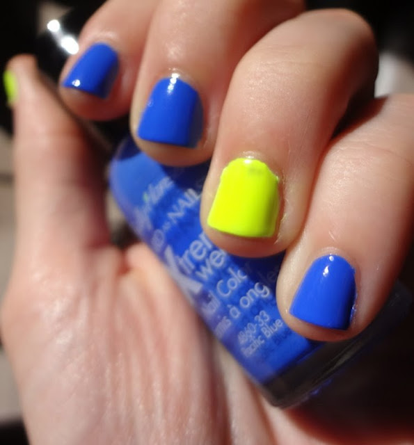 Sally Hansen Pacific Blue w/ a pop of neon yellow nail polish