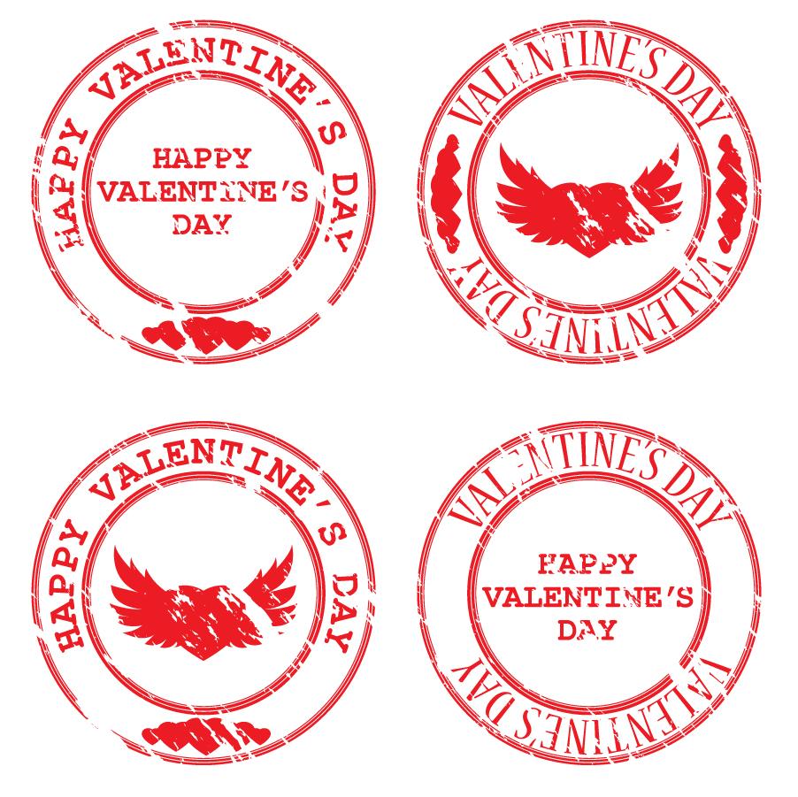 バレンタインデーのスタンプ デザイン heart-shaped valentine seals イラスト素材2