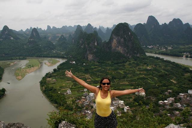 Panorámica del río Li desde la montaña de Xing Ping.