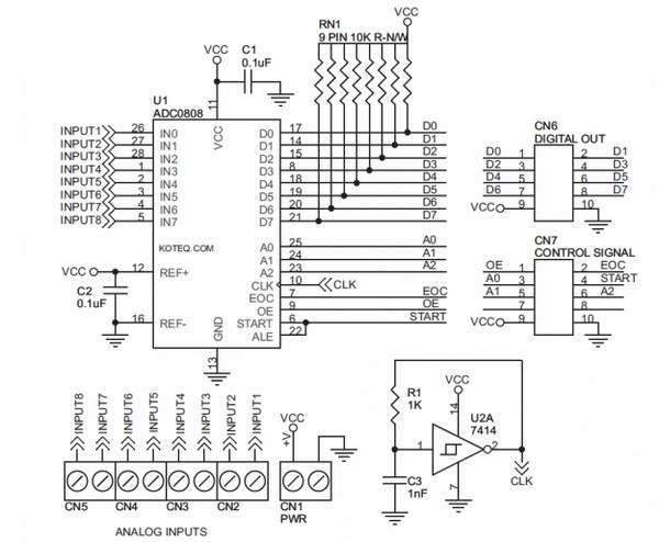 circuit schematic analog to digital converter using