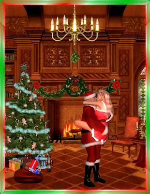 Santa Claus y su mujer muy ocupados en Navidad junto al arbol