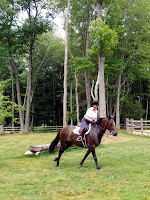 A hunter pace rider enjoying herself in Connecticut