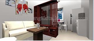 partisi dua sisi minimalis kayu dengan rak tv