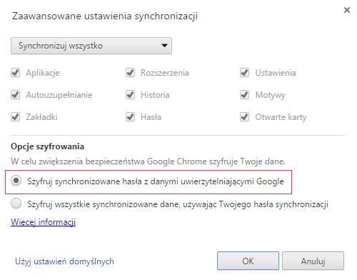 Ustawienia przeglądarki Chrome dotyczące synchronizacji m.in. haseł. Zaznaczyłem opcję dotyczącą szyfrowania, bo jak się dalej okaże nie jest ona bardzo skuteczna.