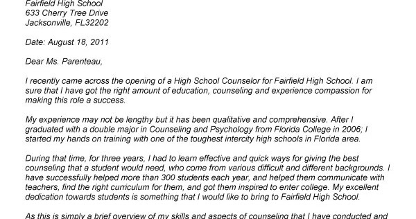 school counselor jobs for school counselors - Cover Letter For High School