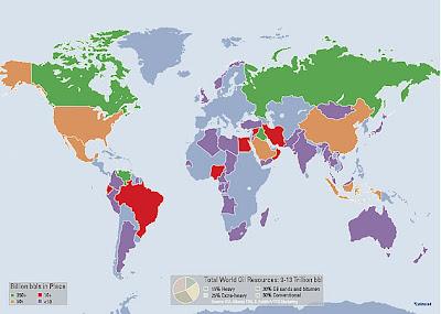 mapa de reservas de petroleo pesado