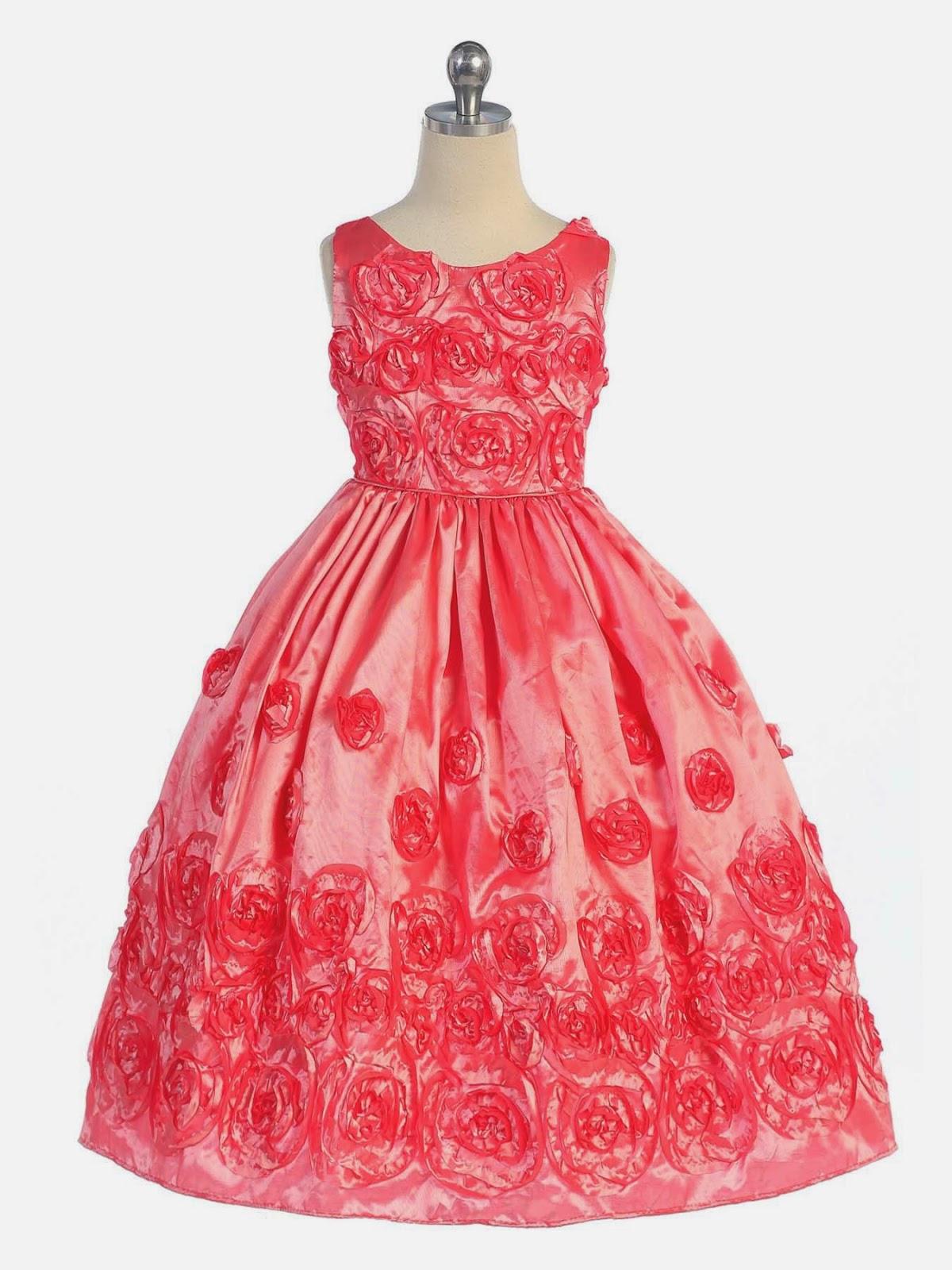 Multinotas: Vestidos Niña de las Flores, Color Coral (1)