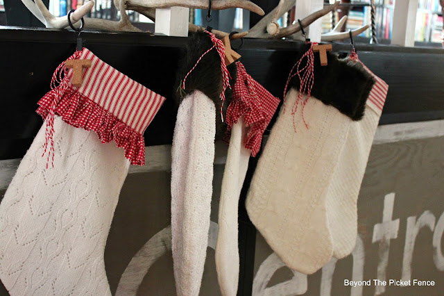 stockings, upcycle, sewing, DIY, Christmas decor, antler stocking holder, rustic Christmas, http://bec4-beyondthepicketfence.blogspot.com/2015/12/12-days-of-christmas-day-10-how-to.html