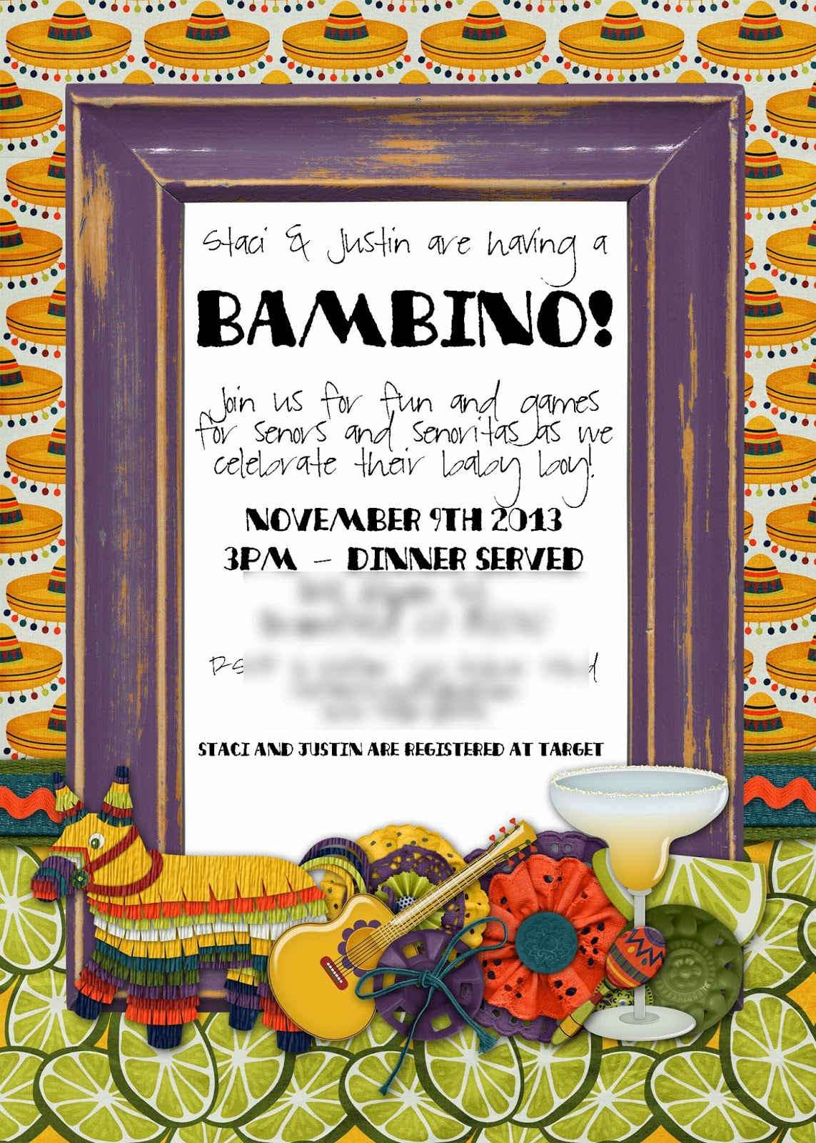 Slightly Askew Designs: Fiesta Themed Baby Shower Invitation