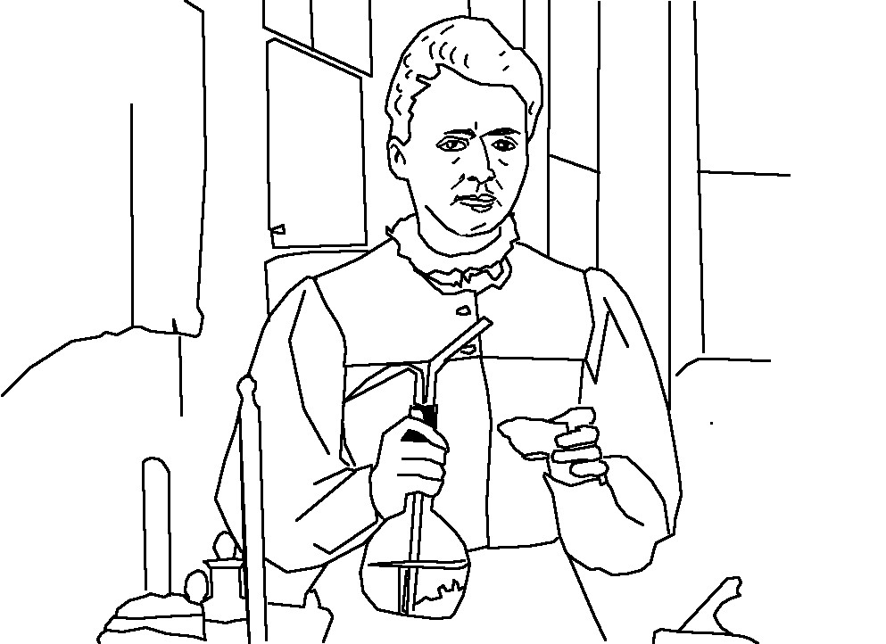 marie curie free printable coloring page