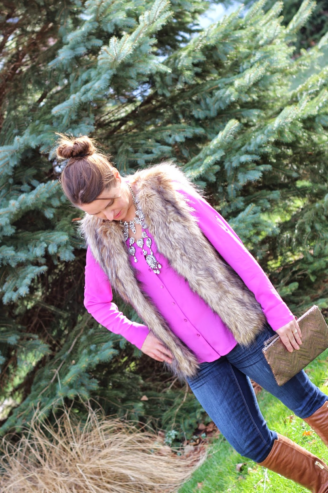 Express Portifino blouse, radiant orchid blouse, fall outfit, faux fur vest, cognac boots, sequin clutch