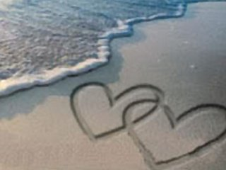 love hearts on sand