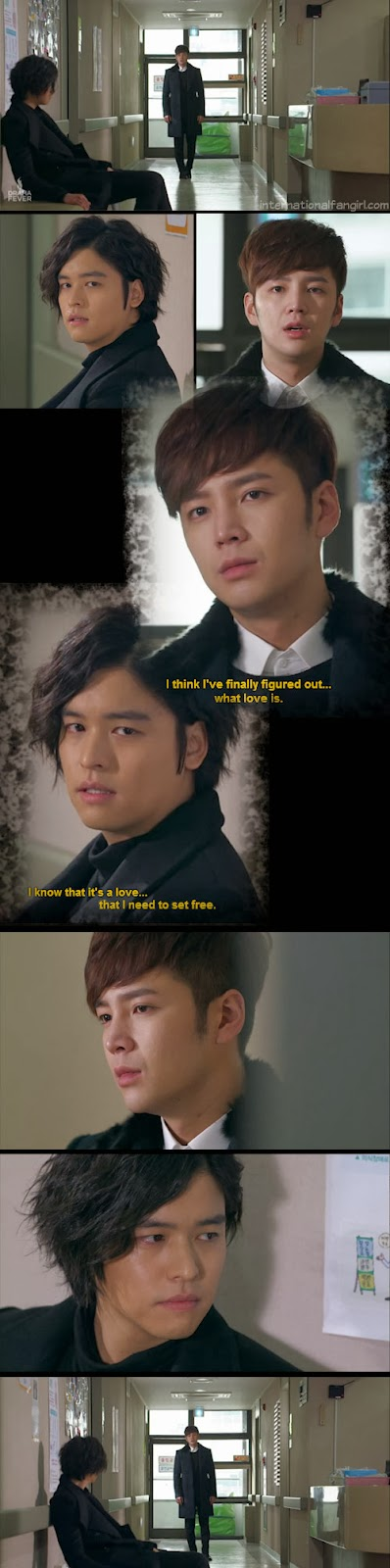 Jang Geun Suk as Dok Go Ma Te and Lee Jang Woo as David Choi, share an emotional scene in a hospital corridor in Bel Ami aka Pretty Man.