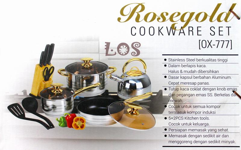 OX-777 Panci  Rosegold Cookware Set Oxone + Knife Block Set