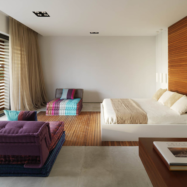 Bedroom with wooden planks on the wall and floor