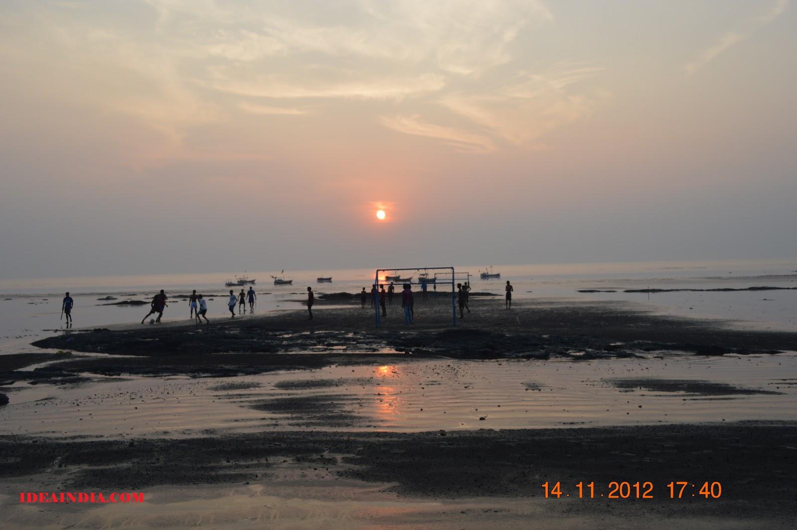 Beach soccer sunset
