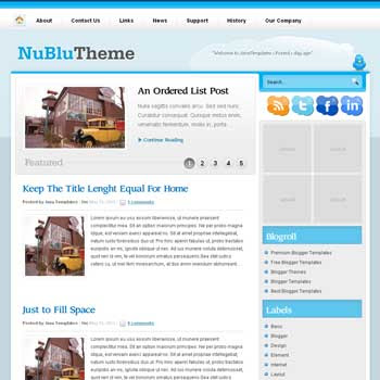 NuBlu blog template. magazine blogger template style. wordpress theme to blogger template. featured content blog template