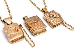 Bronze booklet lockets made with Goldie bronze