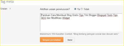 memasang meta tag deskripsi blog