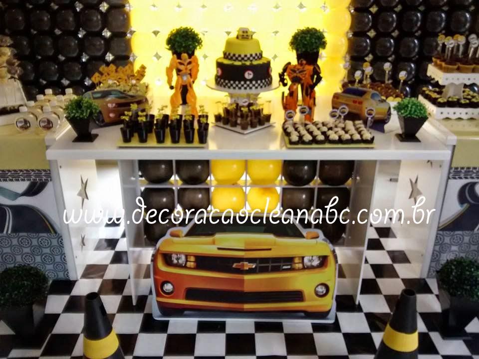 Festa Camaro Amarelo, Festa Bumblebee, Decoração Clean Transformers
