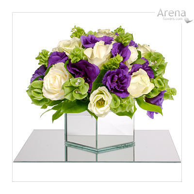 Love this purple and white bouquet with lucite square vase