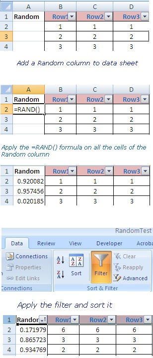 Using RAND() FUNCTION to shuffle excel data