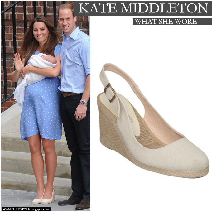 Kate Middleton in baby blue polka dot dress with white beige espadrille wedge shoes on July 23 - Want Her Style
