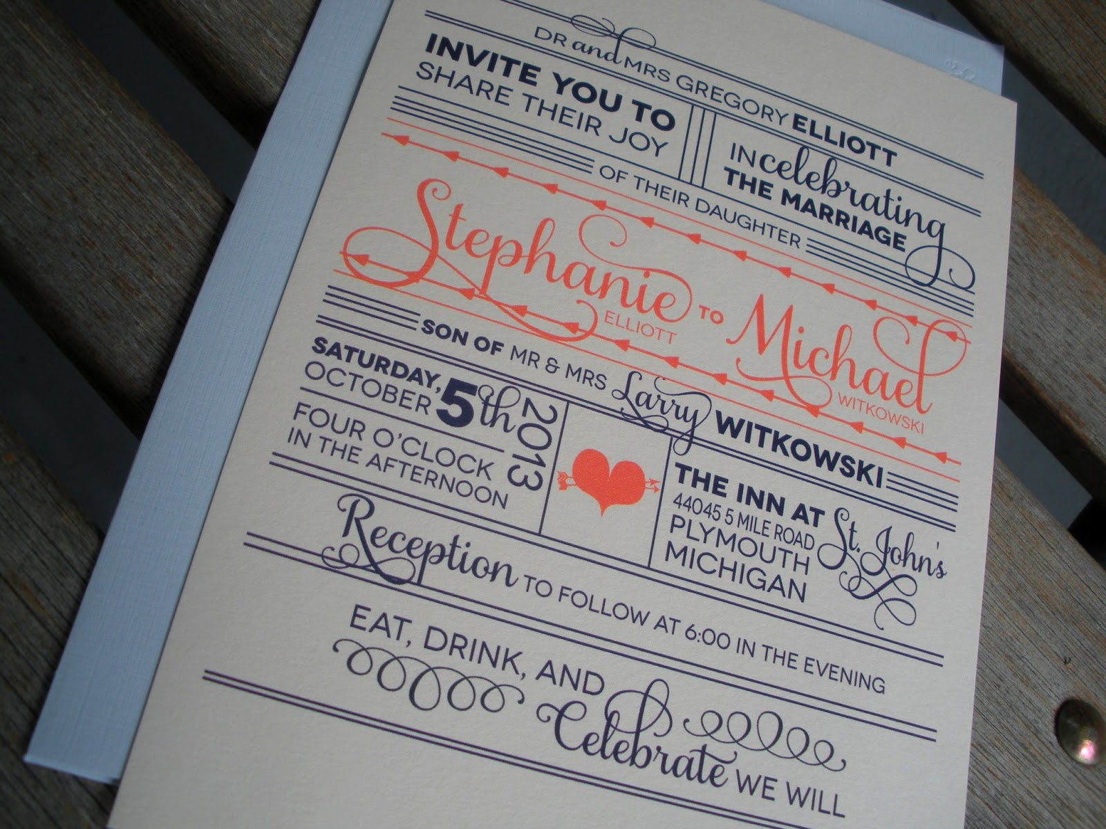 stephanie and michaels modern wedding invitations