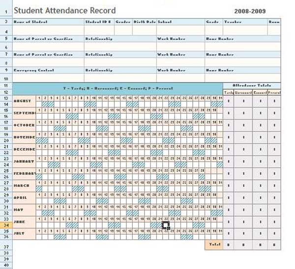 Attendance Sheet – Excel Template,