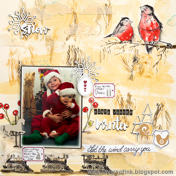Layers of ink - Best Friends Watercolour Layout by Anna-Karin