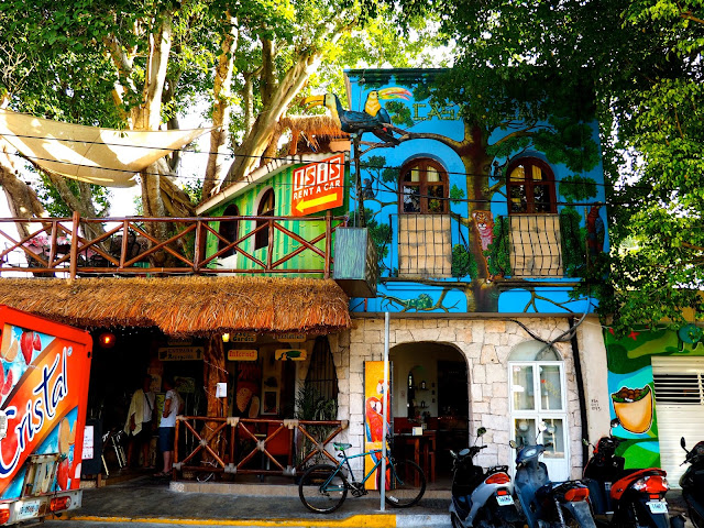 Colourful paintings on the walls of a hostel in Playa del Carmen, Mexico