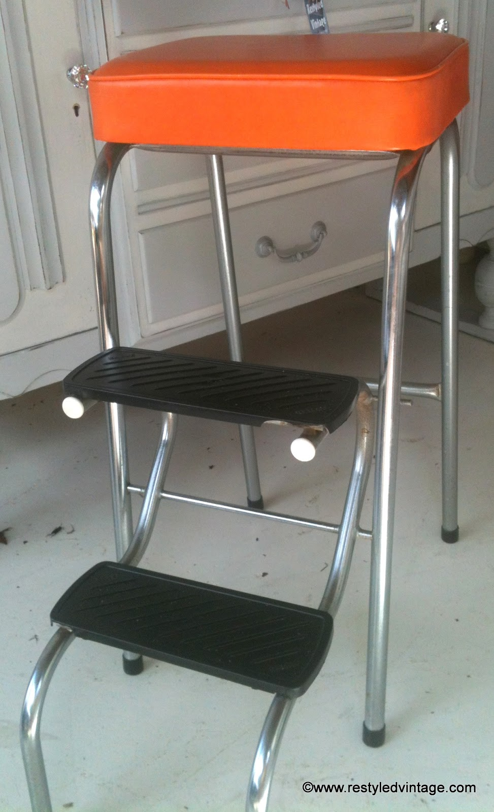 restyled vintage retro kitchen step stool makeover