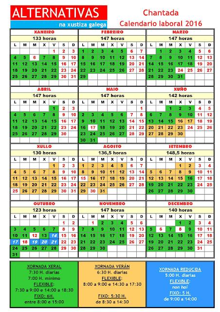 Chantada. Calendario laboral 2016