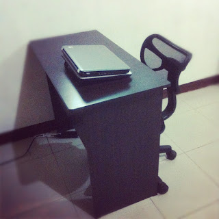 New workspace table with office chair