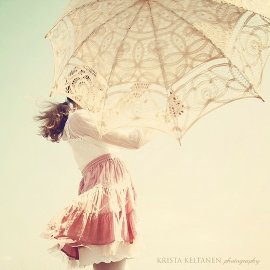girl with umbrella_vintage